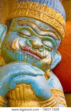 Close Up the Giant statue face sleep at Wat Tai Phra Chao Yai Ong TueUbonratchathani ProvinceThailand.
