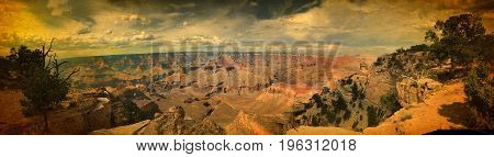 Astonishing panoramic view over Grand Canyon south rim in vintage style