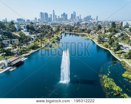 Drone View on Echo Park in Los Angeles