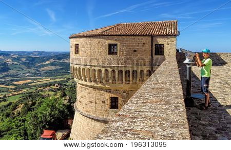 San Leo Italy - June 18 2017: The Renaissance Fortress of San Leo located on a rocky cliff