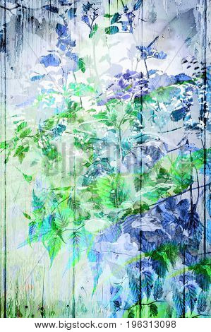 Artistic wooden background with blue and green flowers flowers