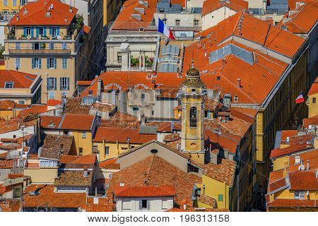 Terracotta Rooftops Of The Old Town, Vieille Ville In Nice On The French Riviera