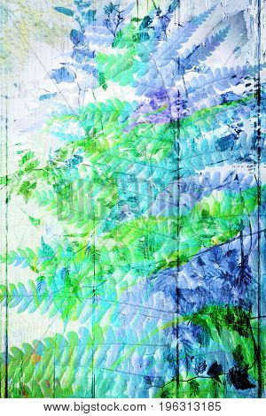 Artistic floral background in blue with fern leaves
