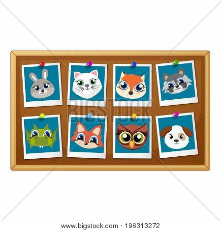 Birthday Photo Frames With Cute Animals. Decorative Template For Baby, Family Or Memories. Scrapbook Vector Illustration. Birthday Children S Photo Framework For A Standard Photo Size.