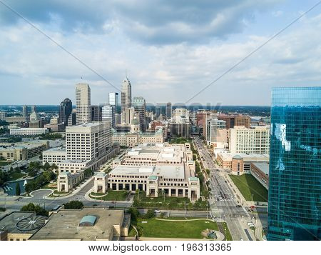 Drone view on the city Indianapolis in US