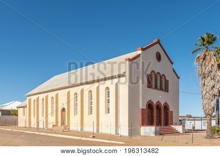 KARASBURG NAMIBIA - JUNE 13 2017: The first building of the Dutch Reformed Church in Karasburg in the Karas Region of Namibia. Now used as church hall