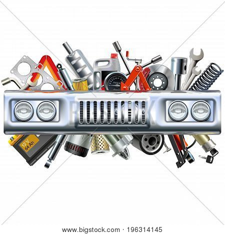 Vector Front Car Part with Spares isolated on white background