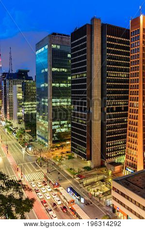 Night view of the famous Paulista Avenue financial center of the city and one of the main places of São Paulo Brazil
