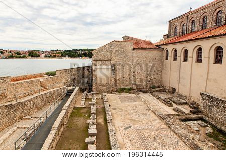 Mosaic floor of the first Basilica in Porec Istria. Croatia