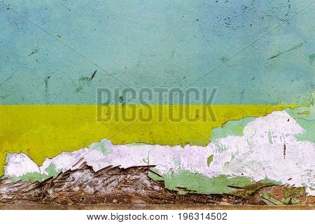 Ukrainian Flag Painted On A Concrete Wall. Flag Of Ukraine. Textured Abstract Background