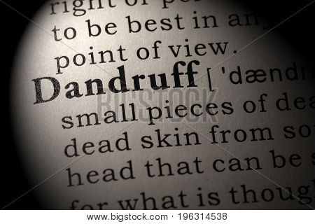 Fake Dictionary Dictionary definition of the word Dandruff. including key descriptive words.