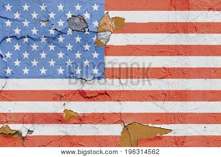 American Flag Painted On A Brick Wall. Flag Of United States Of America. Textured Abstract Backgroun