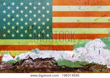 American Flag Painted On A Concrete Wall. Flag Of United States Of America. Textured Abstract Backgr