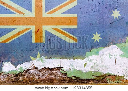 Australian Flag Painted On A Concrete Wall. Flag Of Australia. Textured Abstract Background