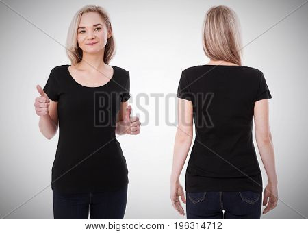 t-shirt design and people concept - close up of young woman in blank black t-shirt, shirt front and rear isolated.