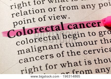 Fake Dictionary Dictionary definition of the word Colorectal cancer. including key descriptive words.