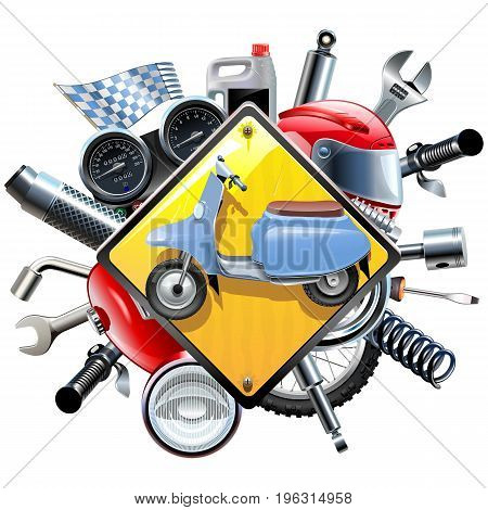 Vector Motorcycle Spares with Scooter isolated on white background