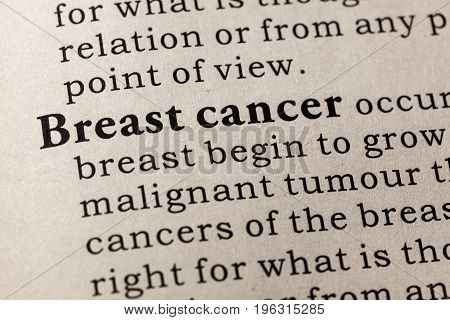 Fake Dictionary Dictionary definition of the word breast cancer. including key descriptive words.