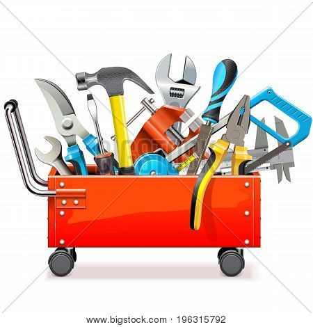 Vector Toolbox Trolley with Tools isolated on white background