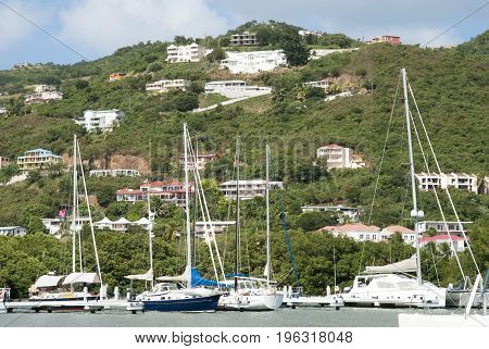 The view of docked yachts in Road Town marina (Tortola island British Virgin Islands).