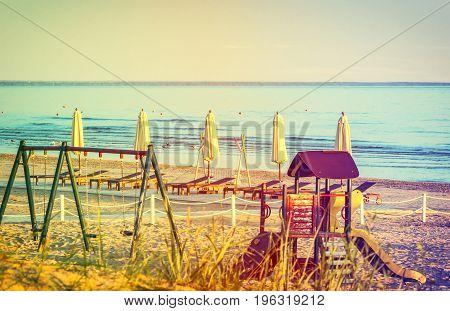 Public playground for children at sandy beach, Baltic Sea, Latvia, Europe