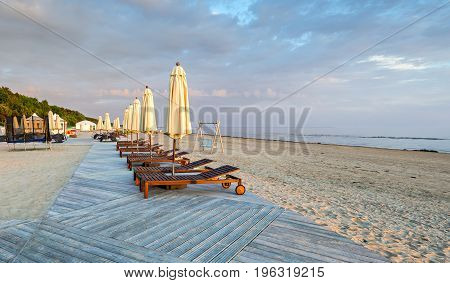 Sunrise at a public domain beach of Jurmala - famous international resort in Latvia, Europe