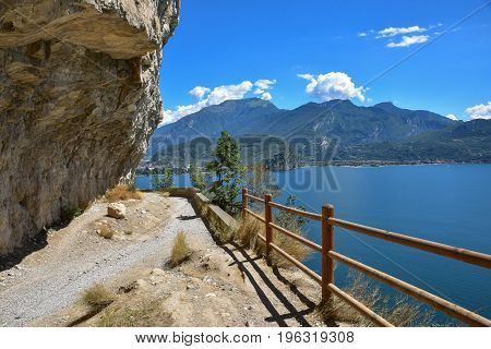 Famous Old Ponale Trail, Carved In The Rocks, Garda Lake, Italy