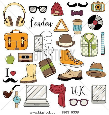 Set of graphic elements. Hipster accessories. Doodle cartoon comic background, wallpaper, template, backdrop