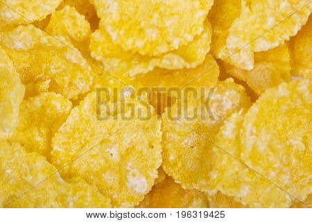 Corn flakes background and texture cornflake cereal box for morning breakfast.