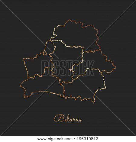 Belarus Region Map: Golden Gradient Outline On Dark Background. Detailed Map Of Belarus Regions. Vec