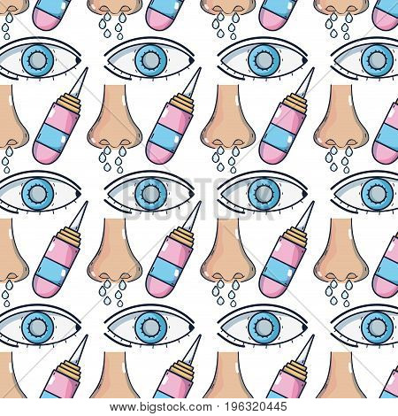 sickness runny nose and conjunctivitis wih medical treatment background vector illustration