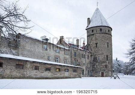 Fortress wall of Tallinn capital of Estonia