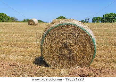 Hay pile in a farm field in Porto Covo Alentejo Portugal