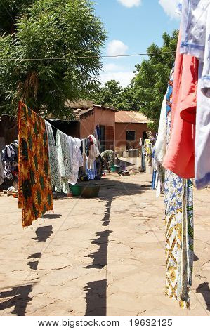Clothes drying at an African household
