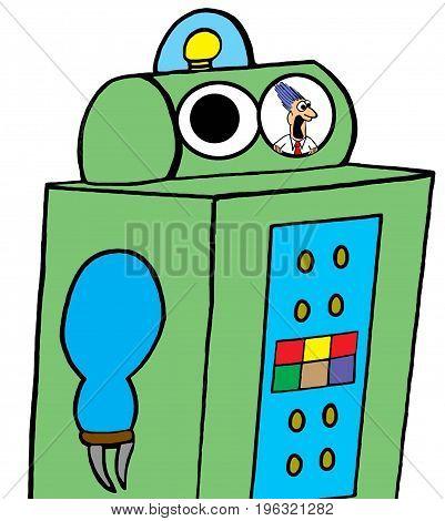 Business cartoon illustration of a frightened business man stuck inside a robot.