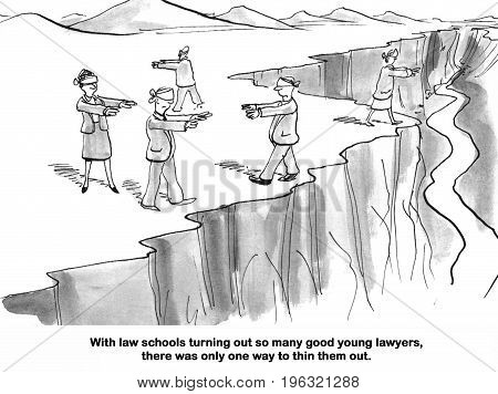 Legal cartoon about thinning out all the law school graduates.