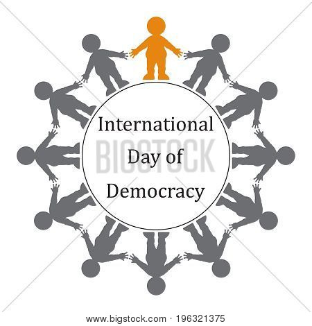 people holding hands in a circle with the text international day of democracy