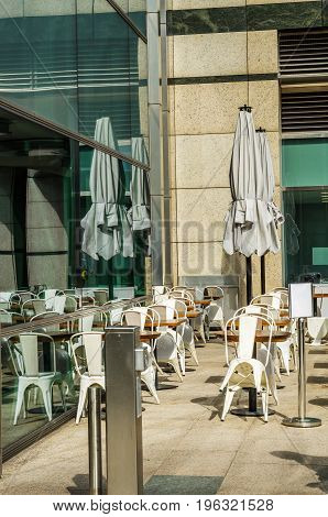 Empty Tables And Chairs In Front Of The Restaurant, Place To Serve Meals Outside The Restaurant