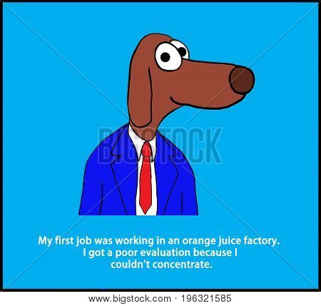 Business cartoon illustration of a worker dog and a pun about not concentrating.