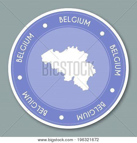 Belgium Label Flat Sticker Design. Patriotic Country Map Round Lable. Country Sticker Vector Illustr