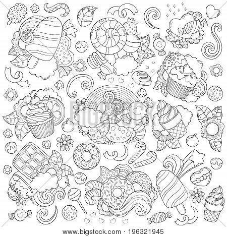 Doodle vector illustration, abstract background, texture, pattern, wallpaper, Collection of sweets, desserts, ice cream candy elements set