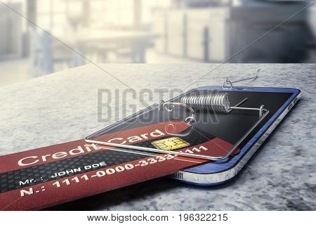 hacker's cyber crime fraud during online bank payment - 3D rendering