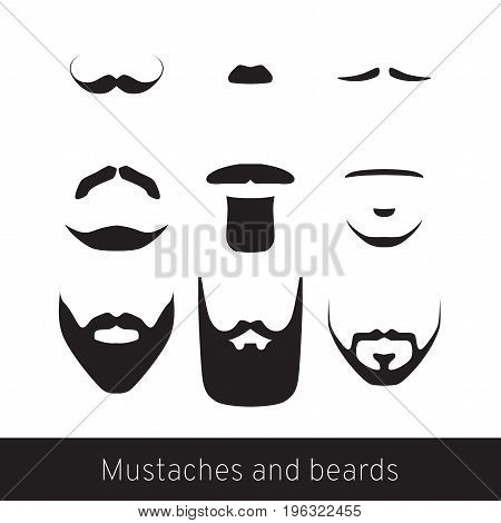 Hand drawn black beard and mustache set isolated vector illustration