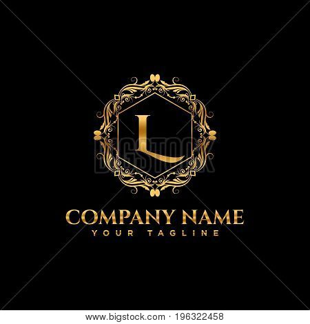 Luxury logo. Calligraphic pattern elegant decor elements. Vintage vector ornament Signs and Symbols. The Letters L. luxury logo template. EPS8,EPS10