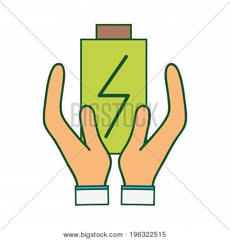 power electric battery charger in the hands vector illustration
