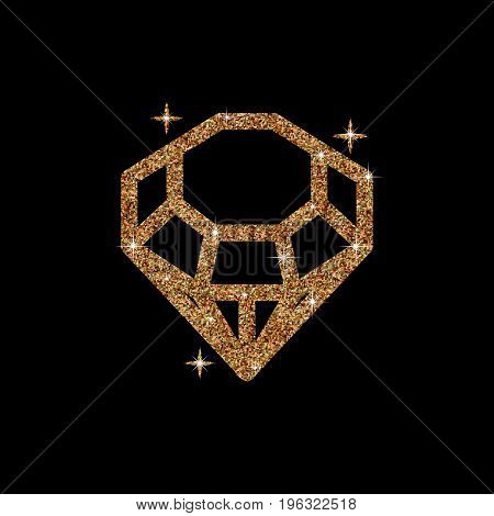 Diamond glitter Vector Illustration. Shiny crystal sign. Brilliant stone isolated on dark background. Fashion modern design. Flat element. Symbol gift, jewel, gem or royal, rich.