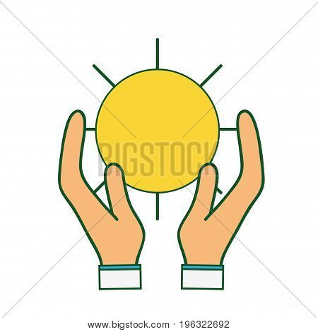 natural sun and normal weather icon in the hands vector illustration
