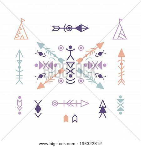 Vector Aztec Ethnic Ornament Elements, isolated on white. Trendy Tribal Tattoo design.