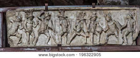 Gladiators of Colosseum in Rome Flavian Amphitheatre