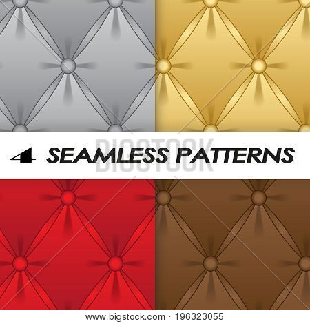 seset of seamless patterns with soft upholstery in a realistic stylet of seamless patterns with soft upholstery in a realistic style